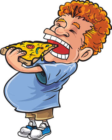 red hair: Cartoon overweight man eating pizza. He has red hair
