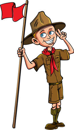 young schoolchild: Stock Vector cartoon illustration of a boy scout.Isolated