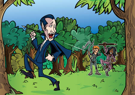 chased: Cartoon Dracula chased by vampire hunters through forest Illustration