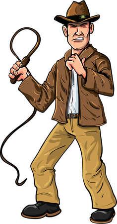 Hombre de la historieta con el látigo y el sombrero de ala aislado Ilustración de vector