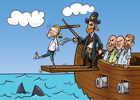 판자를 걷고있는 만화 해적. 바다의 상어