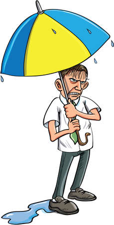 miserable: Cartoon man under an umbrella getting wet. Isolated