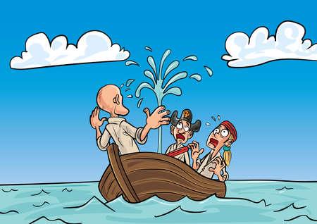 pirates de bande dessinée dans une barque naufrage flottant sur la mer