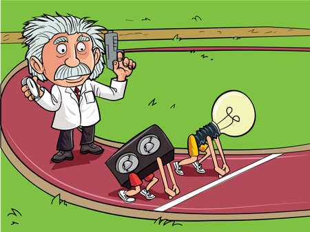Cartoon Einstein in a race between sound and light on a racetrack