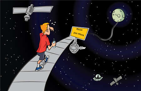distance: Cartoon man walking to the moon on a path through space