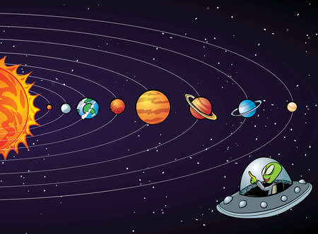 earth planet: Cartoon solar system with planets in a row