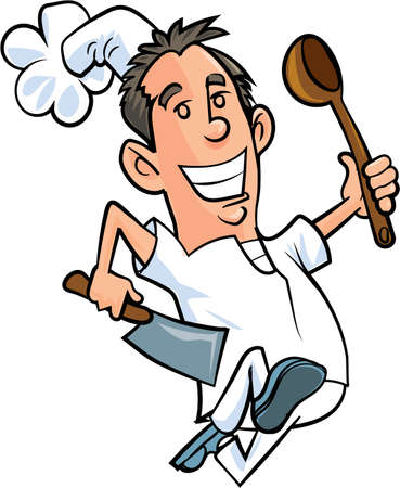 Cartoon running chef isolated on white