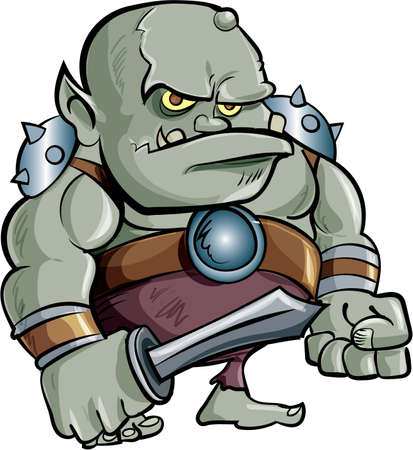 Cartoon Troll holding a sword. Vector illustration. All in a single layer.