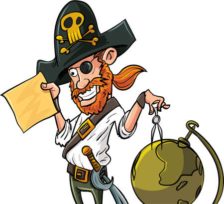 Cartoon pirate with map and globe. Isolated Illustration