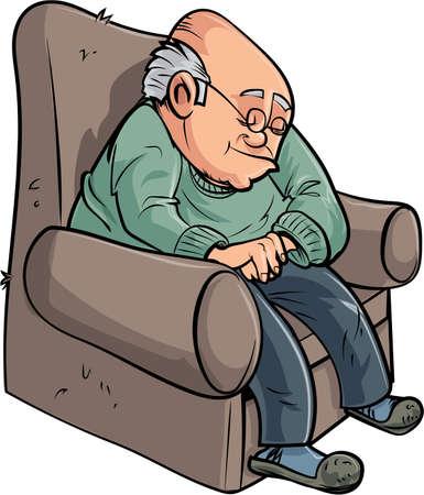 Cartoon old man having a nap Stock Vector - 82060275