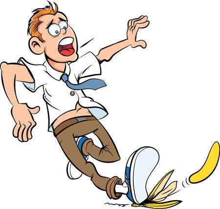 Cartoon slip on a banana