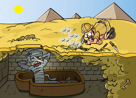 Cartoon Archaeologist annoys ancient mummy. Ilustrace