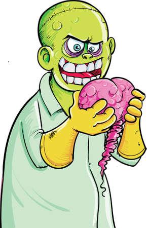Zombie eats brains Illustration