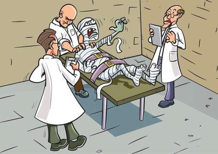 Mummy waking up in lab