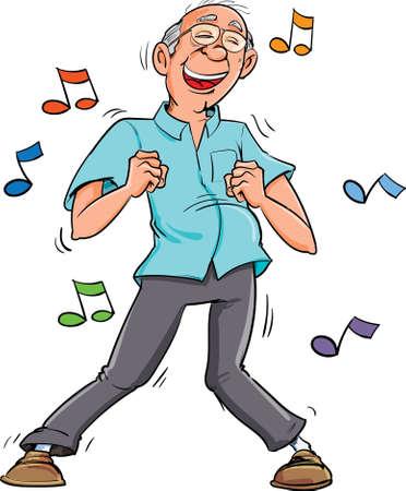 Cartoon oude man dansen op muziek. Zijn plezier Vector Illustratie
