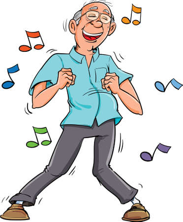 Cartoon old man dancing to music. His having fun