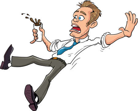 Cartoon of a man slipping and spilling his coffee