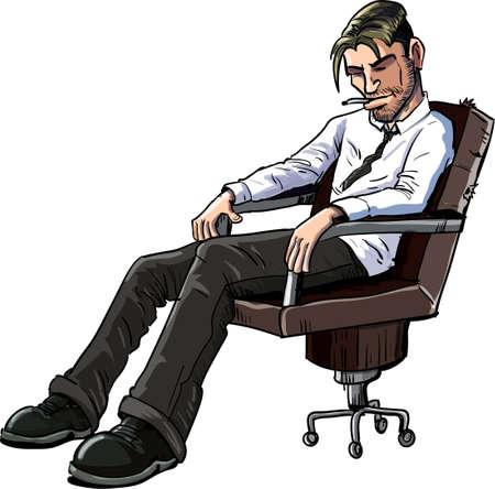 Cartoon office worker in deep depression Illustration