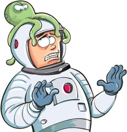 Cartoon diver with an octopus on his head Standard-Bild - 101048846