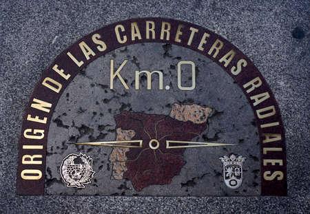 KM 0  Sign in Puerta del Sol, Madrid photo