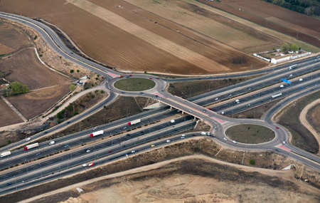 Higway bridge aerial view, Madrid, Spain.