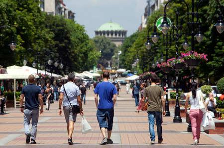 Sofia, ブルガリアのダウンタウンのストリート シーン