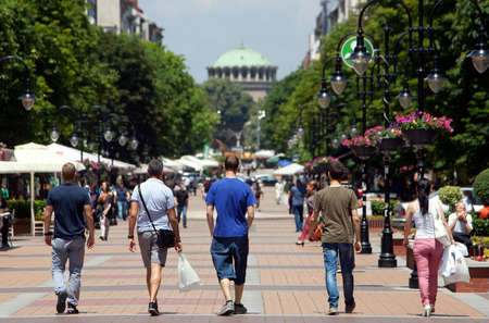 Street scene of downtown city of Sofia, Bulgaria