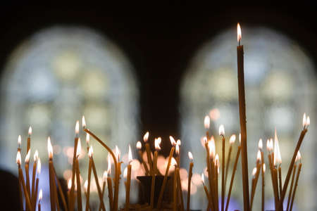 orthodox church: Candles in an orthodox church Stock Photo