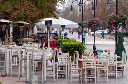 sofia: Cafe tables are seen in pedestrian street in Sofia, Bulgaria.