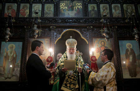 SOFIA, BULGARIA - DECEMBER 12: The Bulgarian patriarch Neophyte during mass on December 12, 2013 in Sofia, Bulgaria.