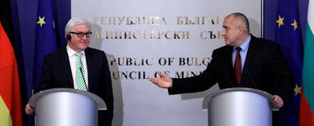 minister: SOFIA, BULGARIA - MARCH 10: Bulgarian Prime Minister Boiko Borisov and German Foreign Minister Frank Walter Steinmeier, during press conference on March 10, 2015 in Sofia.