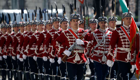 presidency: SOFIA - APRIL 04: Guards of Honor march in front of the Presidency of Bulgarian republic on April 04, 2015 in Sofia. Editorial
