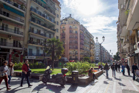 eclecticism: THESSALONIKI, GREECE - NOVEMBER 1: People are enjoying the sunny weather in downtown on November 1, 2015 in Thessaloniki.