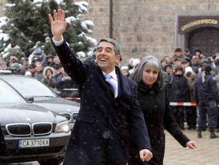 veto: SOFIA, BULGARIA - JANUARY 22: Bulgarian President Rosen Plevneliev and his vice Margarita Popova greets crowd, during inauguration ceremony, Jan 22, 2012, Sofia, Bulgaria.