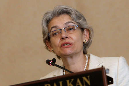 sofia: SOFIA, BULGARIA - SEPTEMBER 16: The director-General of UNESCO Irina Bokova, during conference in Sofia, Bulgaria, Sep 16, 2015.