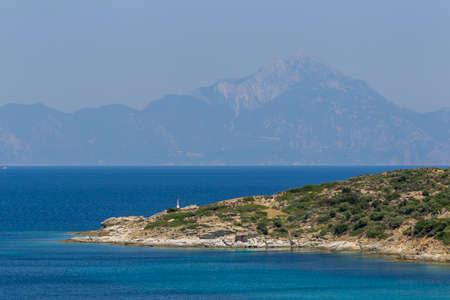 sithonia: General view over Aegean sea and Mount Athos, Greece, Sithonia.