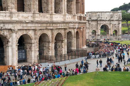 1st century ad: ROME, ITALY - APRIL 7: Colosseum was built in the first century AD by the Emperor Vespasian. Tourists in Rome city on April 7, 2016, Rome, Italy. Editorial