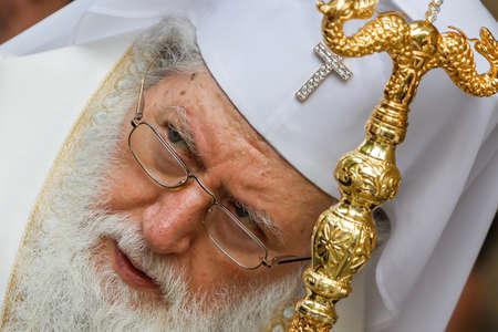ecclesiastical: SOFIA, BULGARIA - JUNE 18: The Bulgarian patriarch Neophyte during mass on June 18, 2016 in Sofia, Bulgaria.