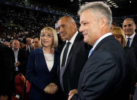 runoff: SOFIA, BULGARIA - OCTOBER 9: Bulgarian prime minister and head of political party GERB Boyko Borisov (C) greets presidential and vice-presidential candidates Tsetska Tsacheva and Plamen Manushev, during launching 2016 Presidential Campaign, Oct 9, 2016, S
