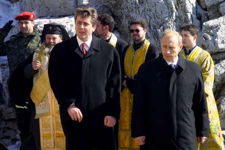 Shipka, Bulgaria - Mart 3, 2003: The Presidents of Russia Vladimir Putin (R) and Bulgaria Georgi Parvanov during celebrations marking the 125th anniversary of liberating Bulgaria from the Ottoman yoke.