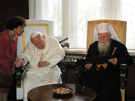 SOFIA, BULGARIA - 24 MAY 2002: Pope John Paul II meets head of the Bulgarian Orthodox Church Patriarch Maxim (R) in Sofia, Bulgaria, 24 May, 2002. Pope John II is in his first four-day official visit in Balkan country.