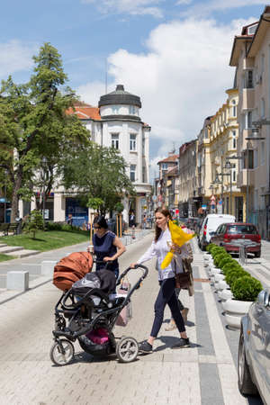 SOFIA, BULGARIA - JUNE 6: Pedestrians walks through the renovated