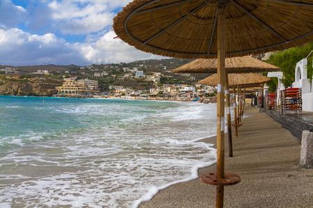 Agia Pelagia beach sunny morning, Crete, Greece Imagens