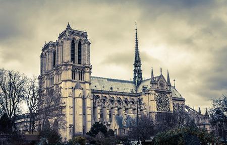 jorobado: Notre Dame de Par�s en invierno sin nieve, Par�s, Francia Foto de archivo