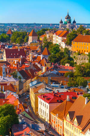 tallin: Still living city-fortress with high walls and towers. Tallin, Estonia. Editorial