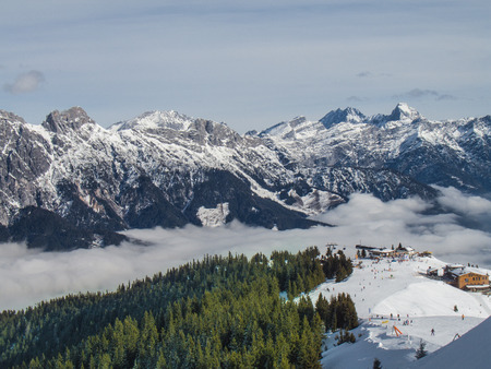 pila: Above the clouds. Pila, Valle d Stock Photo