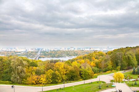 Autumn colors of Park \Slavy\, Kyiv, Ukraine