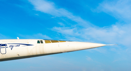 supersonic: ULYANOVSK, RUSSIA - NOVEMBER 05, 2014: Close up of soviet passenger supersonic Tupolev Tu-144 77110 at aviation exhibition.
