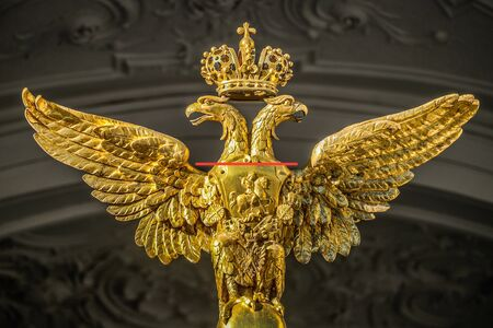 double headed: ST. PETERSBURG, RUSSIA - OCTOBER 28: Double-headed eagle on the facade of the Hermitage museum on October 28, 2015