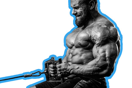 execute: Handsome caucasian athlete muscular fitness male model execute exercise in the gym. Brutal bodybuilder powerful training on diet back and biceps Stock Photo